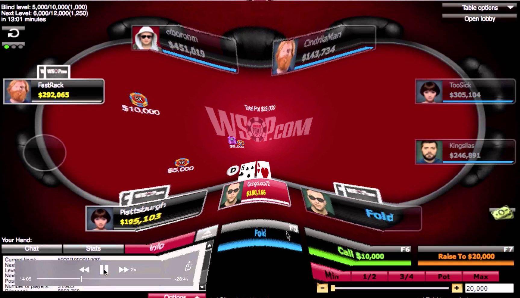 WSOP.com online poker table